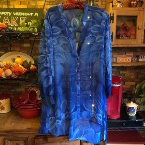 NWOT Sheer Blue Tunic Blouse